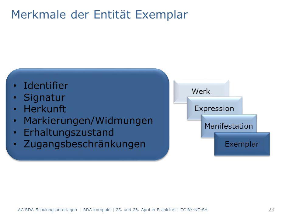 Merkmale der Entität Exemplar AG RDA Schulungsunterlagen | RDA kompakt | 25.