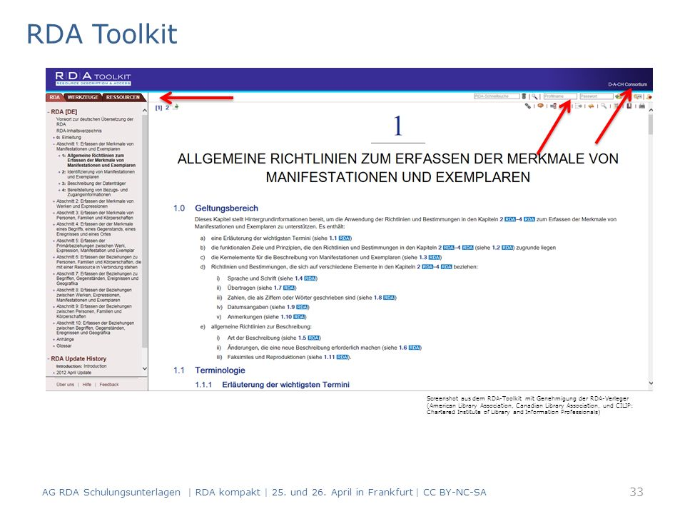 RDA Toolkit Screenshot aus dem RDA-Toolkit mit Genehmigung der RDA-Verleger (American Library Association, Canadian Library Association, und CILIP: Chartered Institute of Library and Information Professionals) AG RDA Schulungsunterlagen | RDA kompakt | 25.