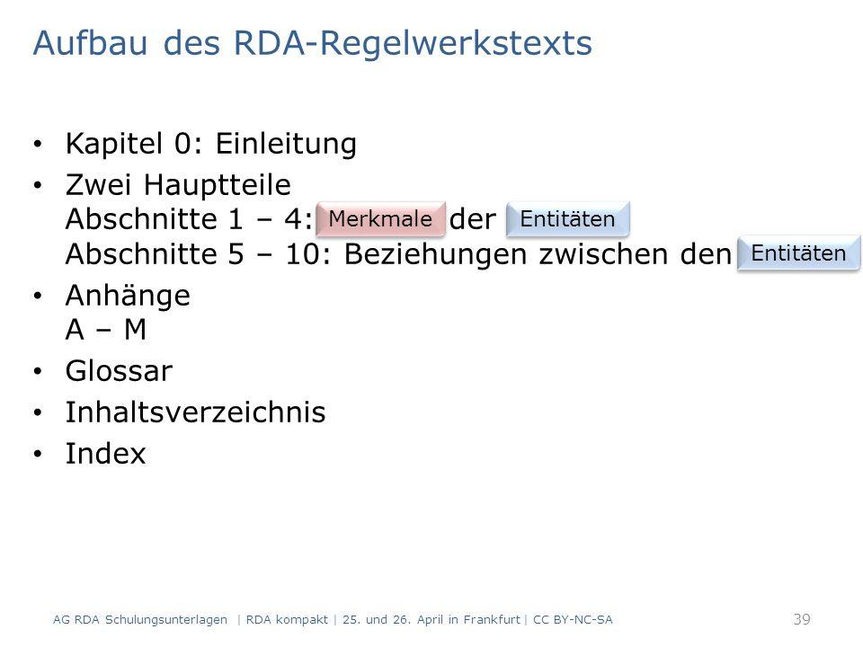 Aufbau des RDA-Regelwerkstexts Kapitel 0: Einleitung Zwei Hauptteile Abschnitte 1 – 4: der Abschnitte 5 – 10: Beziehungen zwischen den Anhänge A – M Glossar Inhaltsverzeichnis Index AG RDA Schulungsunterlagen | RDA kompakt | 25.