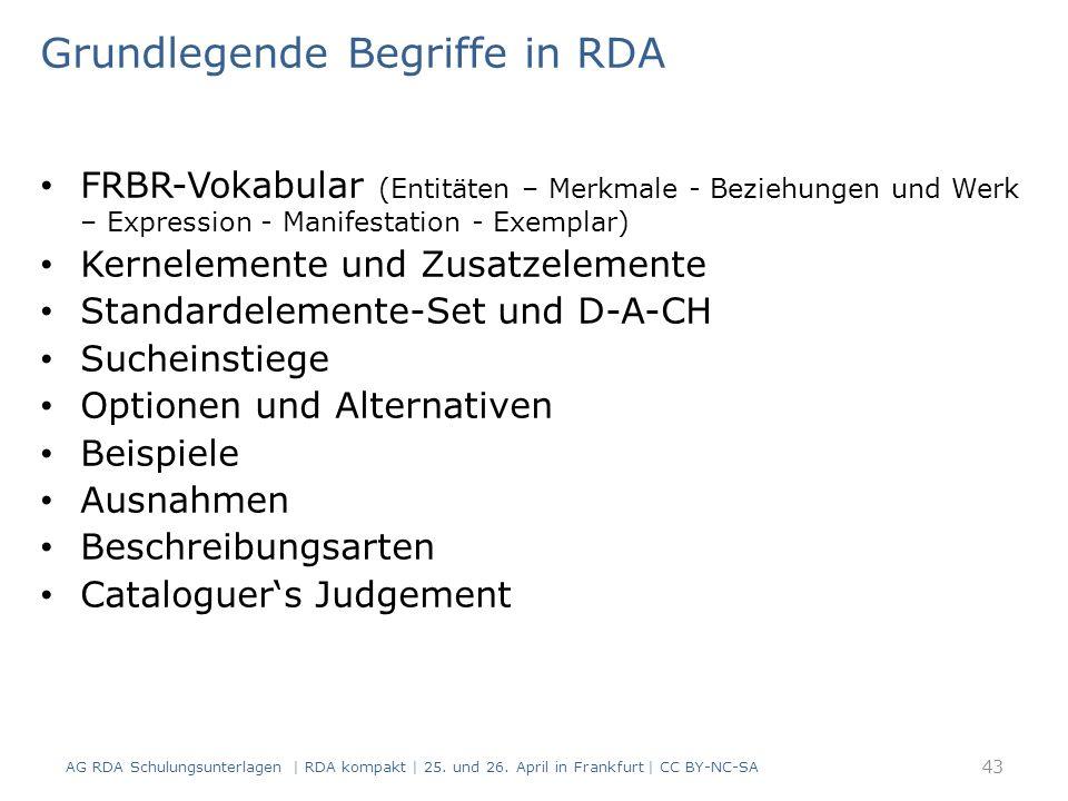 Grundlegende Begriffe in RDA FRBR-Vokabular (Entitäten – Merkmale - Beziehungen und Werk – Expression - Manifestation - Exemplar) Kernelemente und Zusatzelemente Standardelemente-Set und D-A-CH Sucheinstiege Optionen und Alternativen Beispiele Ausnahmen Beschreibungsarten Cataloguer's Judgement AG RDA Schulungsunterlagen | RDA kompakt | 25.