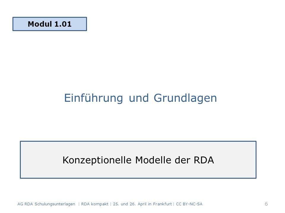 Einführung und Grundlagen Modul 1.01 AG RDA Schulungsunterlagen | RDA kompakt | 25.