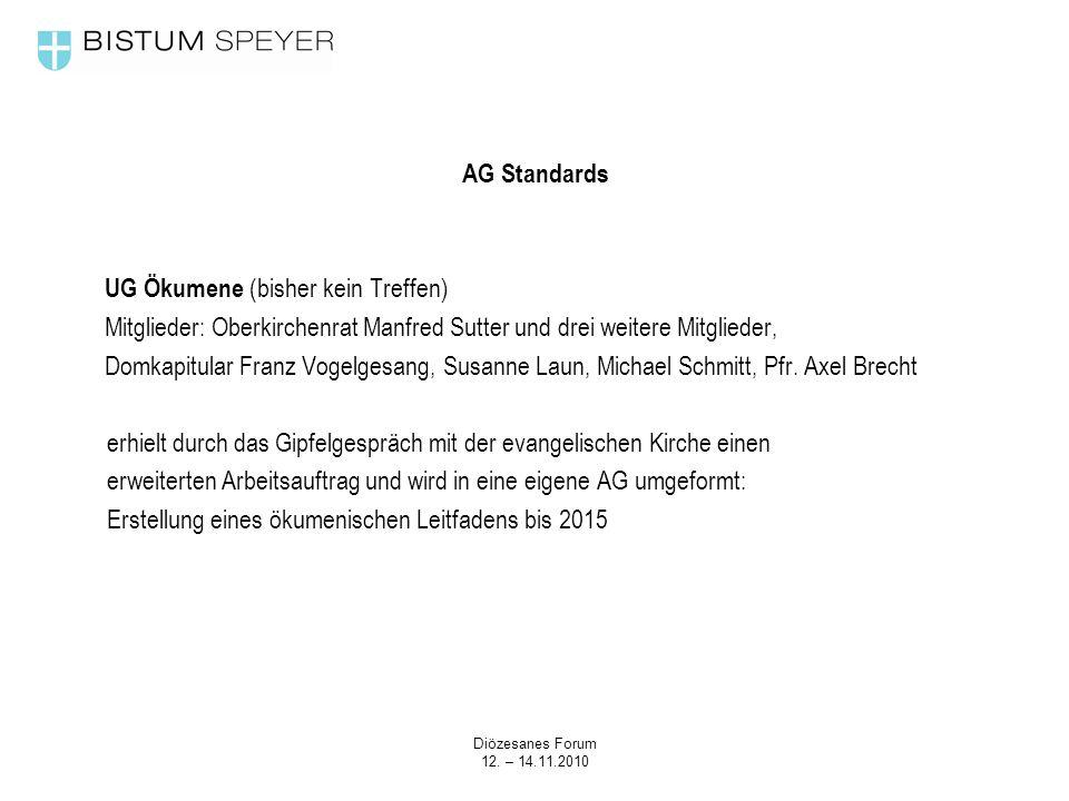 Diözesanes Forum 12. – 14.11.2010 AG Standards UG Ökumene (bisher kein Treffen) Mitglieder: Oberkirchenrat Manfred Sutter und drei weitere Mitglieder,