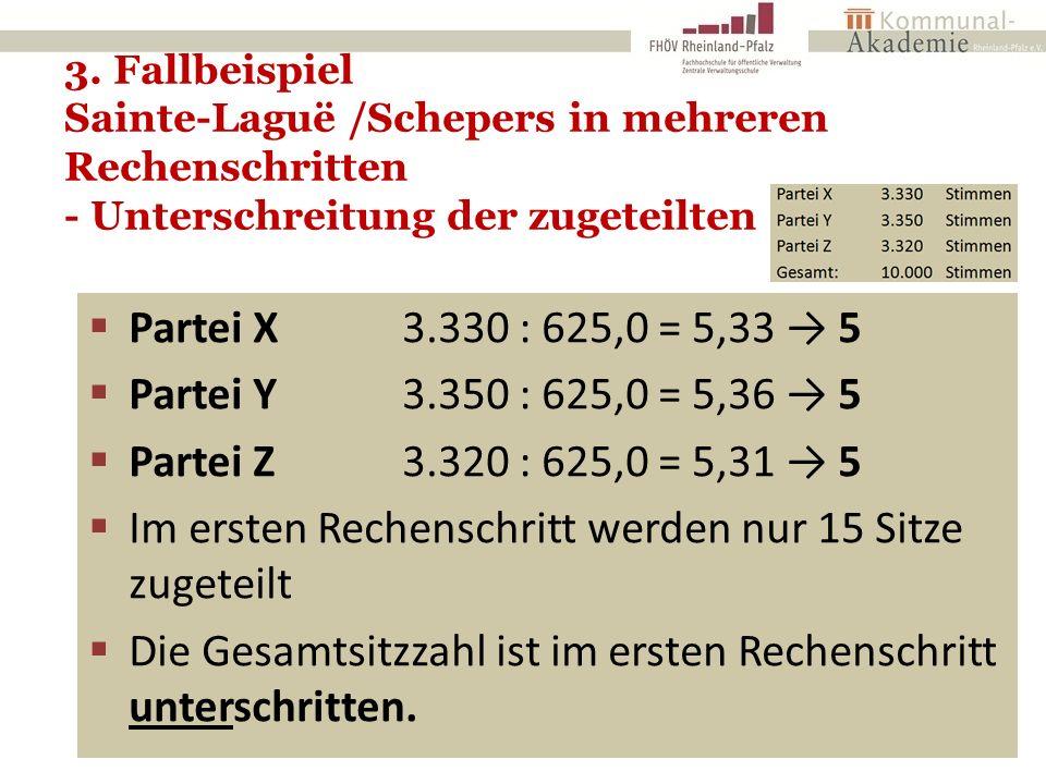 3. Fallbeispiel Sainte-Laguë /Schepers in mehreren Rechenschritten - Unterschreitung der zugeteilten Sitze - 20  Partei X 3.330 : 625,0 = 5,33 → 5 