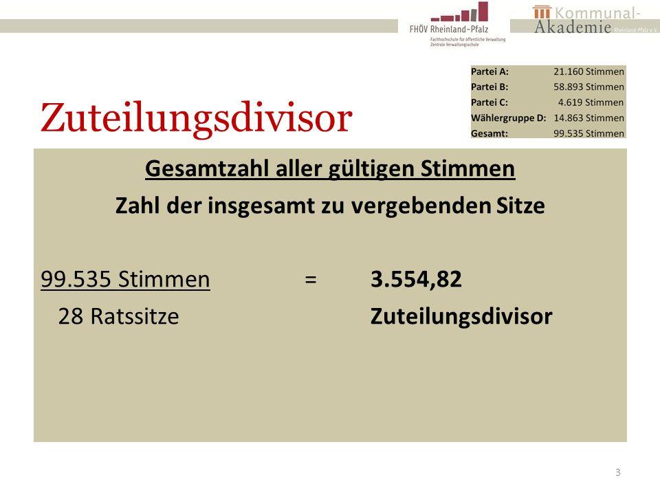 Zuteilungsdivisor Gesamtzahl aller gültigen Stimmen Zahl der insgesamt zu vergebenden Sitze 99.535 Stimmen=3.554,82 28 RatssitzeZuteilungsdivisor 3