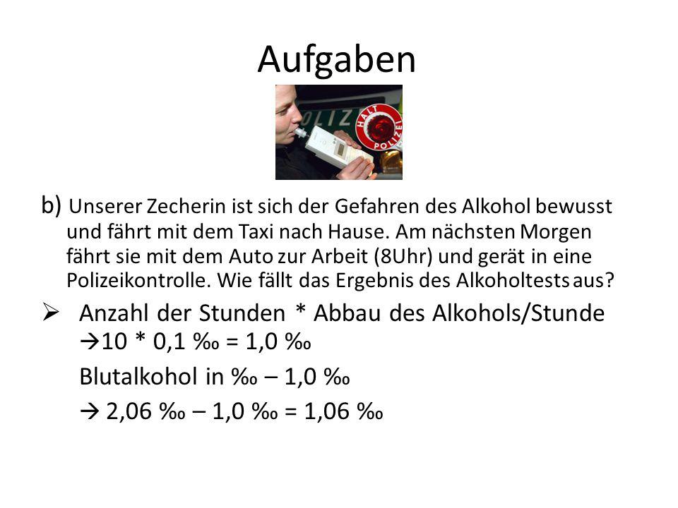 Aufgaben b) Unserer Zecherin ist sich der Gefahren des Alkohol bewusst und fährt mit dem Taxi nach Hause. Am nächsten Morgen fährt sie mit dem Auto zu