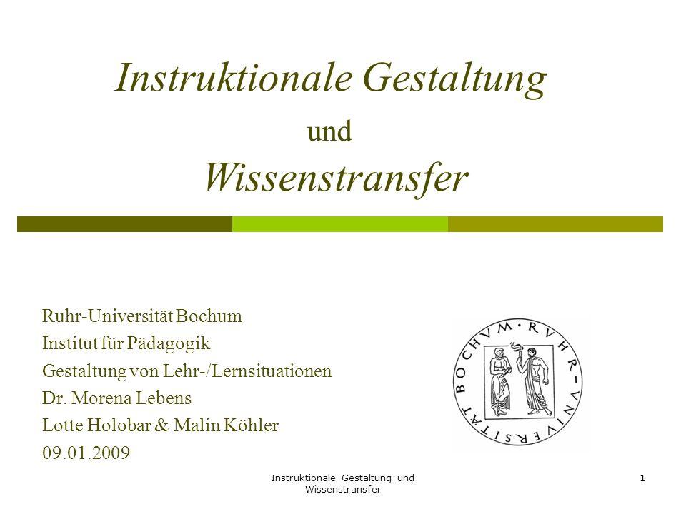 Instruktionale Gestaltung und Wissenstransfer 1 Ruhr-Universität Bochum Institut für Pädagogik Gestaltung von Lehr-/Lernsituationen Dr. Morena Lebens