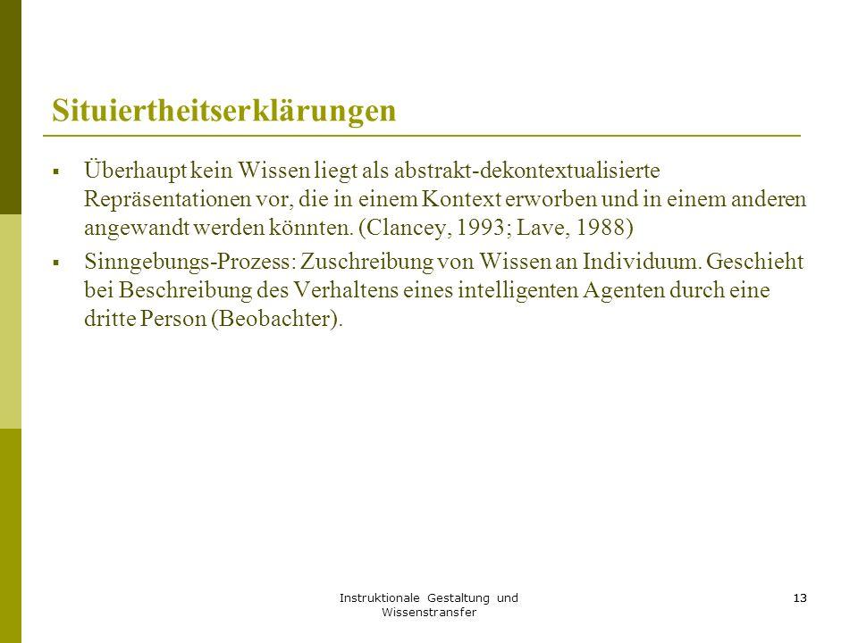 Instruktionale Gestaltung und Wissenstransfer 13 Situiertheitserklärungen  Überhaupt kein Wissen liegt als abstrakt-dekontextualisierte Repräsentatio