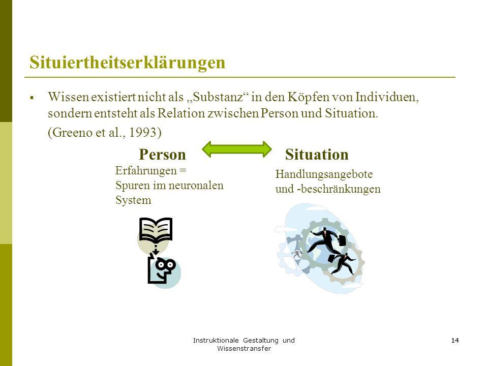 """Instruktionale Gestaltung und Wissenstransfer 14 Situiertheitserklärungen  Wissen existiert nicht als """"Substanz in den Köpfen von Individuen, sondern entsteht als Relation zwischen Person und Situation."""