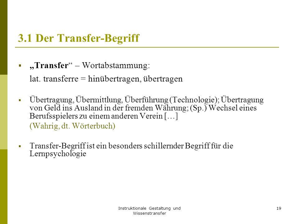 """Instruktionale Gestaltung und Wissenstransfer 19 3.1 Der Transfer-Begriff  """"Transfer"""" – Wortabstammung: lat. transferre = hinübertragen, übertragen """