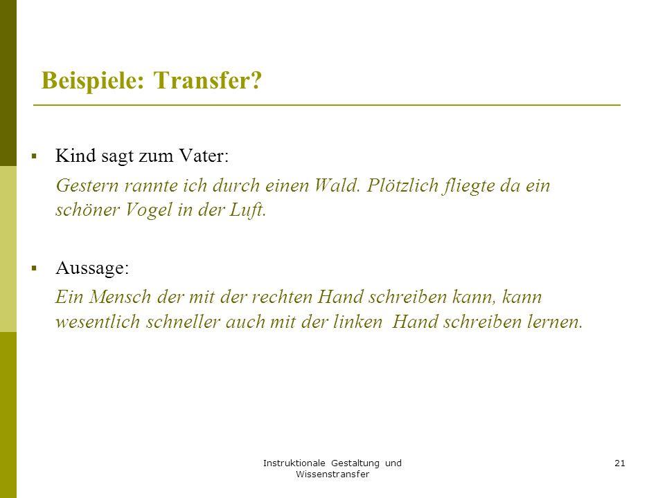 Instruktionale Gestaltung und Wissenstransfer 21 Beispiele: Transfer.