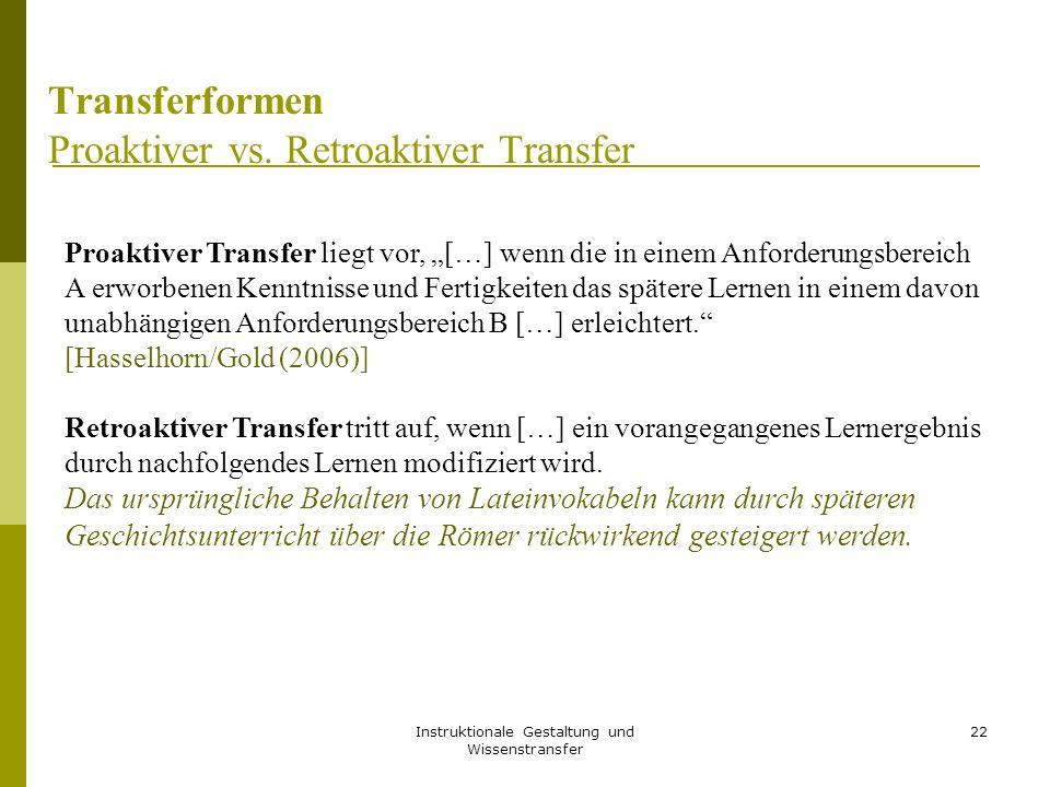 "Instruktionale Gestaltung und Wissenstransfer 22 Transferformen Proaktiver vs. Retroaktiver Transfer Proaktiver Transfer liegt vor, ""[…] wenn die in e"