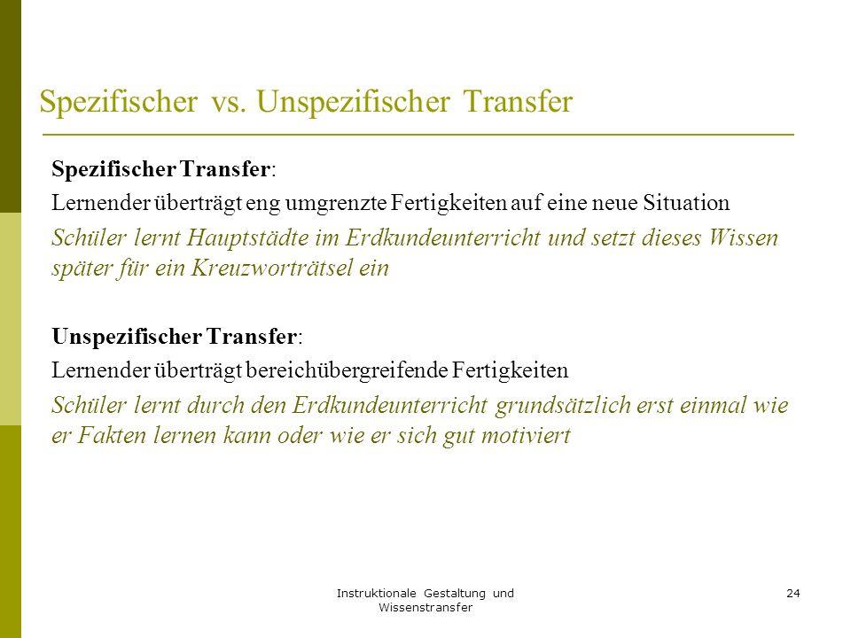 Instruktionale Gestaltung und Wissenstransfer 24 Spezifischer vs. Unspezifischer Transfer Spezifischer Transfer: Lernender überträgt eng umgrenzte Fer