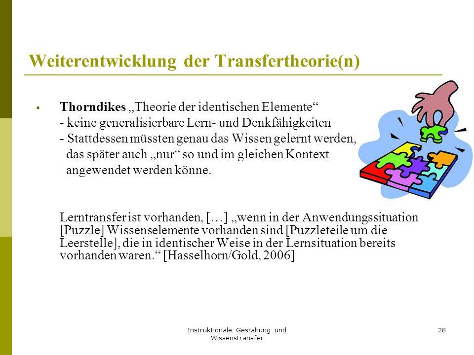 """Instruktionale Gestaltung und Wissenstransfer 28 Weiterentwicklung der Transfertheorie(n)  Thorndikes """"Theorie der identischen Elemente - keine generalisierbare Lern- und Denkfähigkeiten - Stattdessen müssten genau das Wissen gelernt werden, das später auch """"nur so und im gleichen Kontext angewendet werden könne."""