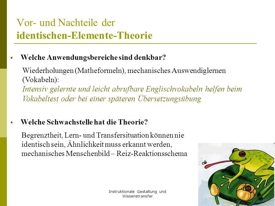 Instruktionale Gestaltung und Wissenstransfer 29 Vor- und Nachteile der identischen-Elemente-Theorie  Welche Anwendungsbereiche sind denkbar?  Welch