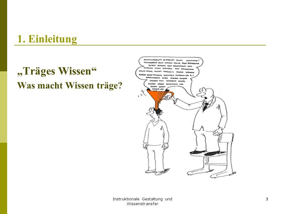 """Instruktionale Gestaltung und Wissenstransfer 3 1. Einleitung """"Träges Wissen"""" Was macht Wissen träge? 3"""