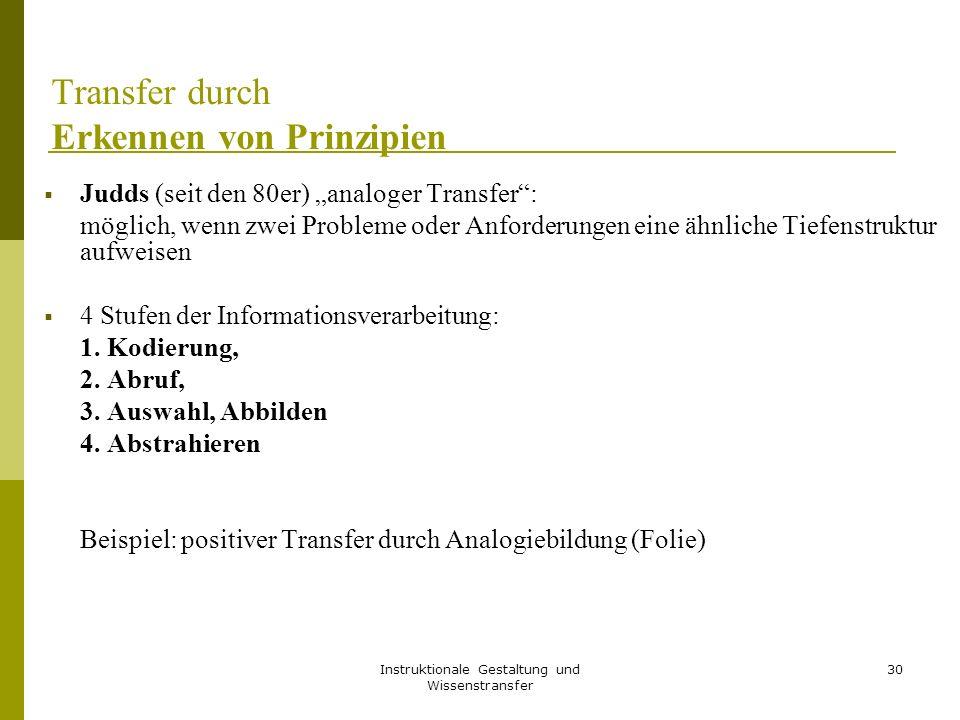 """Instruktionale Gestaltung und Wissenstransfer 30 Transfer durch Erkennen von Prinzipien  Judds (seit den 80er) """"analoger Transfer"""": möglich, wenn zwe"""
