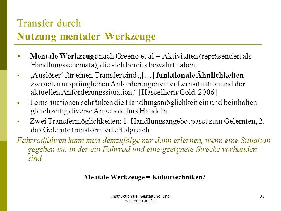 Instruktionale Gestaltung und Wissenstransfer 31 Transfer durch Nutzung mentaler Werkzeuge  Mentale Werkzeuge nach Greeno et al.= Aktivitäten (repräs