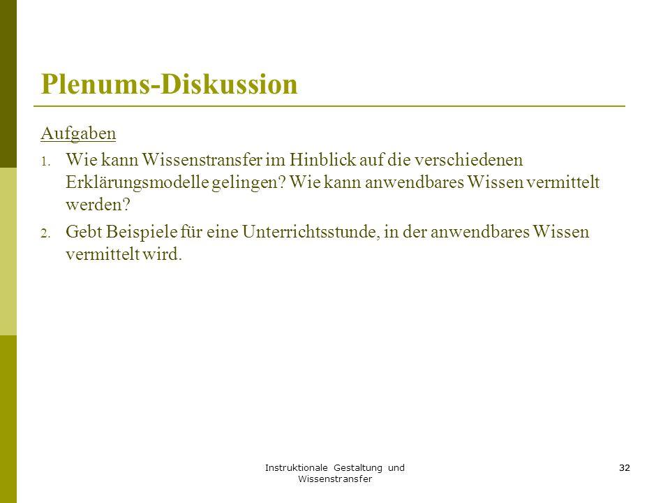 Instruktionale Gestaltung und Wissenstransfer 32 Plenums-Diskussion Aufgaben 1. Wie kann Wissenstransfer im Hinblick auf die verschiedenen Erklärungsm