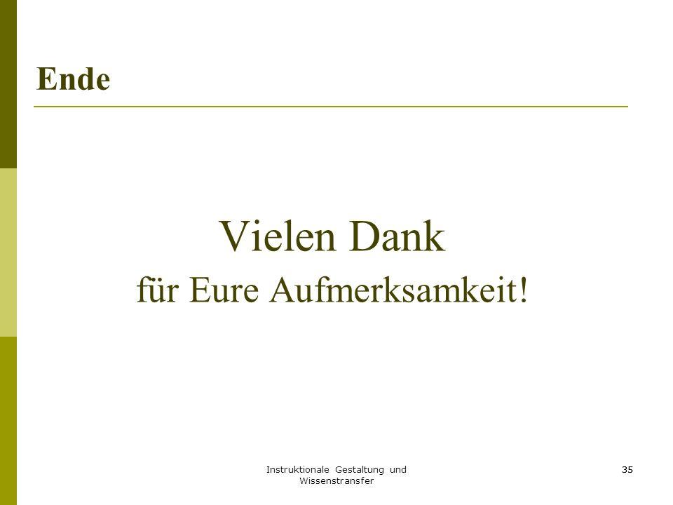 Instruktionale Gestaltung und Wissenstransfer 35 Ende Vielen Dank für Eure Aufmerksamkeit! 35