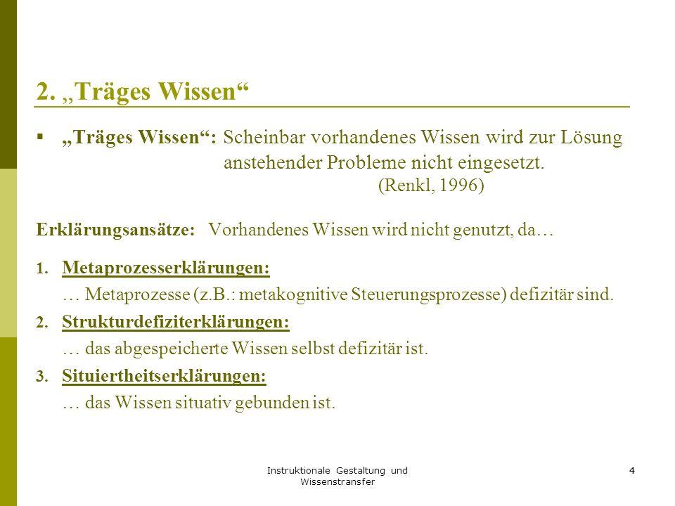 Instruktionale Gestaltung und Wissenstransfer 25 4.