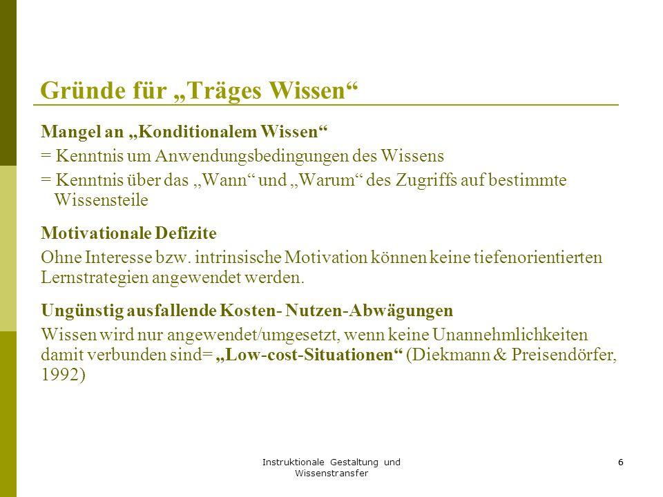 """Instruktionale Gestaltung und Wissenstransfer 6 Gründe für """"Träges Wissen"""" Mangel an """"Konditionalem Wissen"""" = Kenntnis um Anwendungsbedingungen des Wi"""