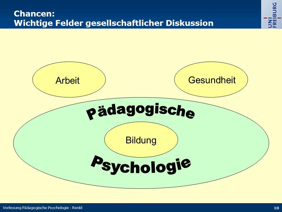 Vorlesung Pädagogische Psychologie - Renkl 10 Chancen: Wichtige Felder gesellschaftlicher Diskussion Arbeit Bildung Gesundheit