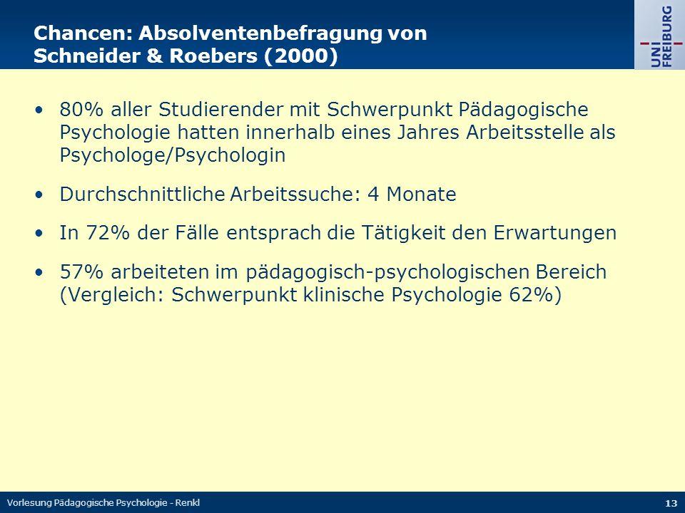 Vorlesung Pädagogische Psychologie - Renkl 13 Chancen: Absolventenbefragung von Schneider & Roebers (2000) 80% aller Studierender mit Schwerpunkt Pädagogische Psychologie hatten innerhalb eines Jahres Arbeitsstelle als Psychologe/Psychologin Durchschnittliche Arbeitssuche: 4 Monate In 72% der Fälle entsprach die Tätigkeit den Erwartungen 57% arbeiteten im pädagogisch-psychologischen Bereich (Vergleich: Schwerpunkt klinische Psychologie 62%)