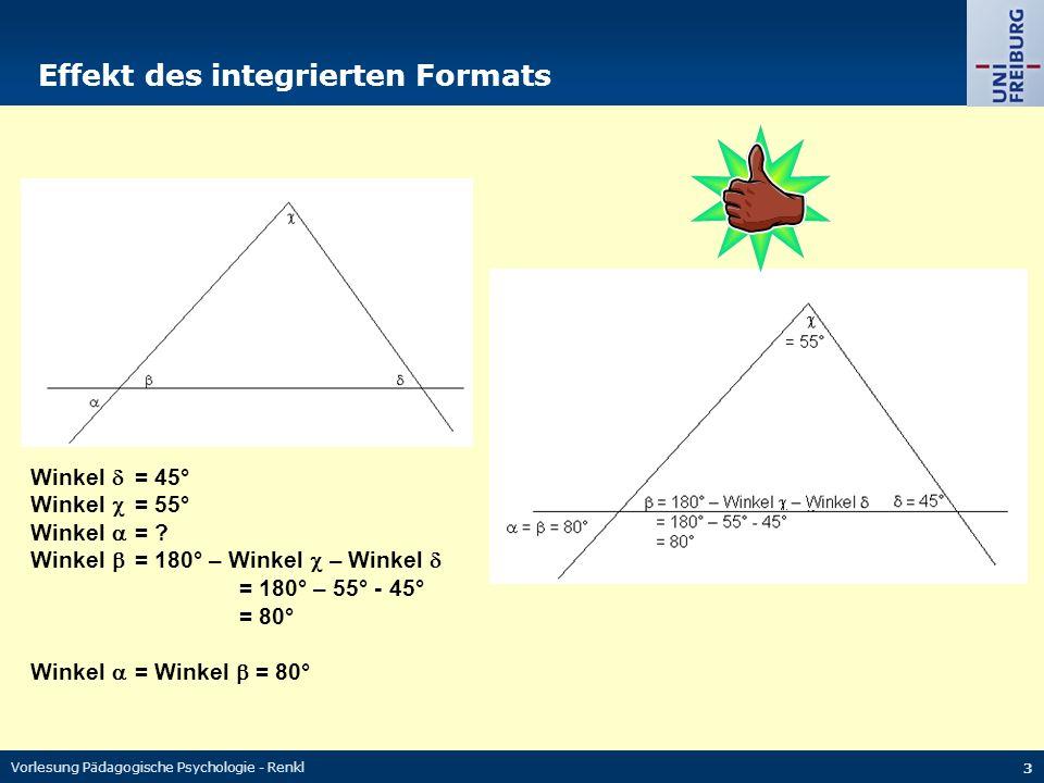 Vorlesung Pädagogische Psychologie - Renkl 3 Effekt des integrierten Formats Winkel  = 45° Winkel  = 55° Winkel  = .