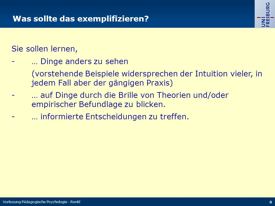 Vorlesung Pädagogische Psychologie - Renkl 19 Weniger geht es um Lernen im Sinne… … motorischer Fertigkeiten … nicht konzeptuell-basierter Fertigkeiten … der Konditionierung (z.B.