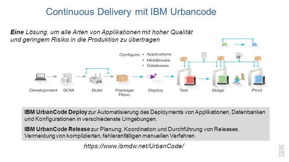 Eine Lösung, um alle Arten von Applikationen mit hoher Qualität und geringem Risiko in die Produktion zu übertragen IBM UrbanCode Deploy zur Automatisierung des Deployments von Applikationen, Datenbanken und Konfigurationen in verschiedenste Umgebungen.