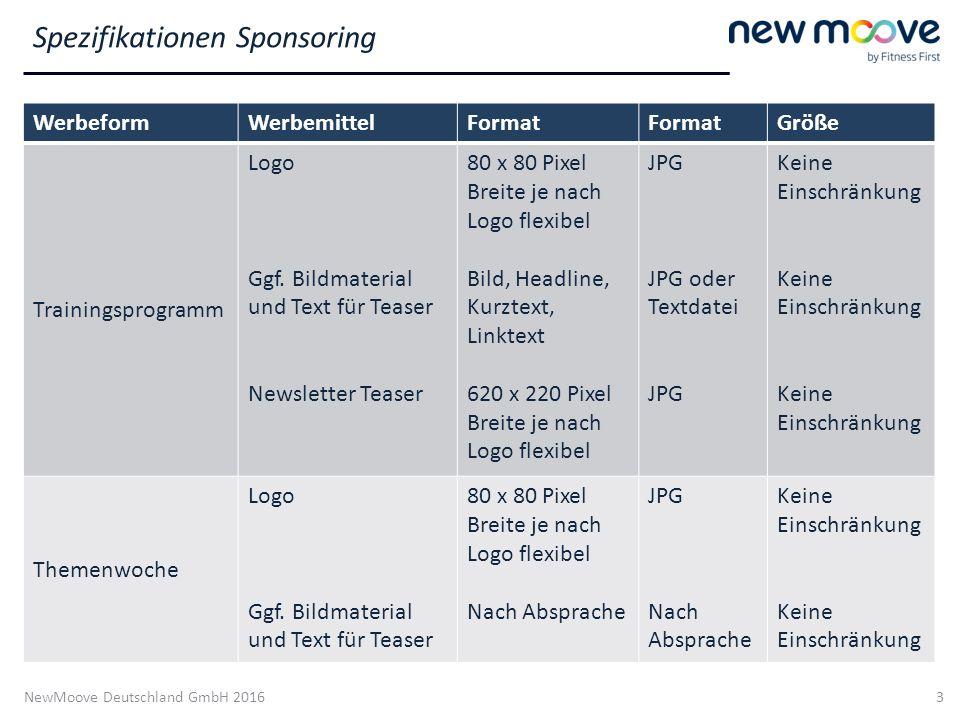 NewMoove Deutschland GmbH 2016 3 WerbeformWerbemittelFormat Größe Trainingsprogramm Logo Ggf. Bildmaterial und Text für Teaser Newsletter Teaser 80 x
