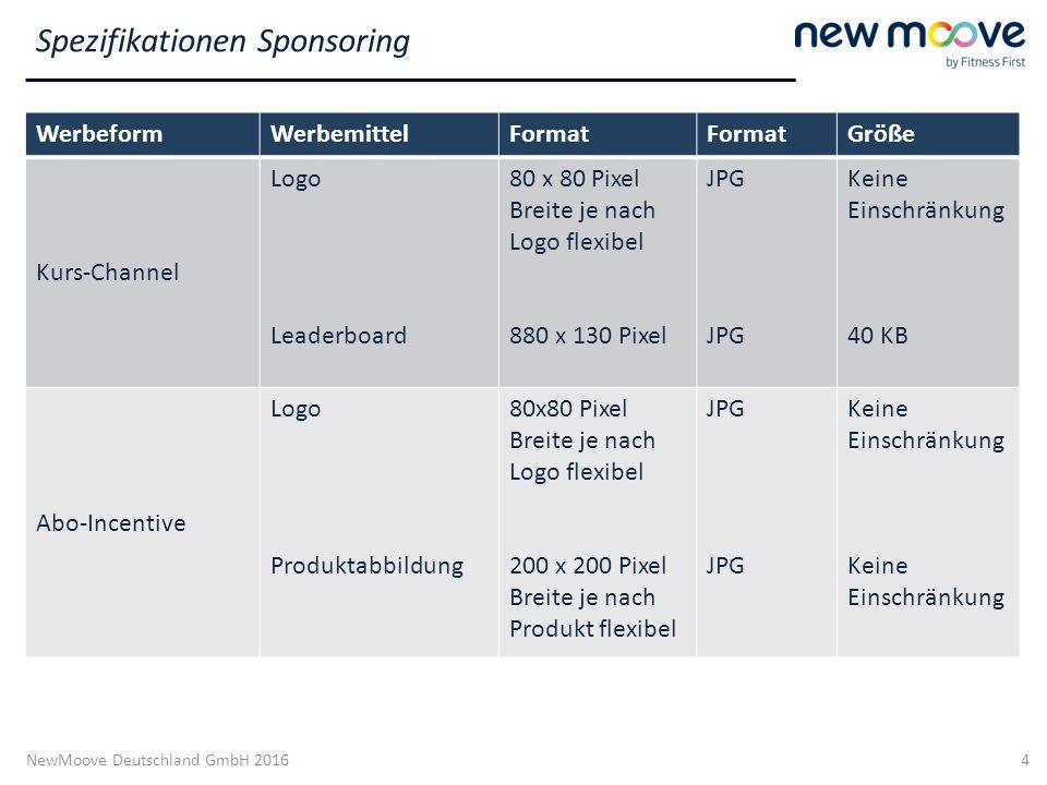NewMoove Deutschland GmbH 2016 4 WerbeformWerbemittelFormat Größe Kurs-Channel Logo Leaderboard 80 x 80 Pixel Breite je nach Logo flexibel 880 x 130 P