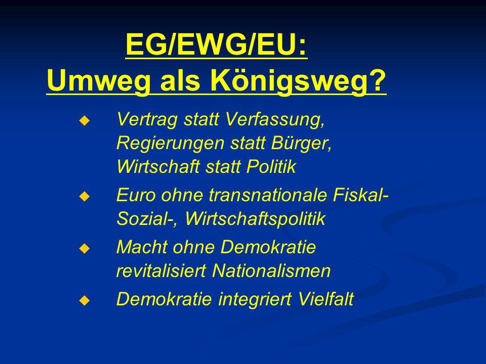EG/EWG/EU: Umweg als Königsweg?   Vertrag statt Verfassung, Regierungen statt Bürger, Wirtschaft statt Politik   Euro ohne transnationale Fiskal-