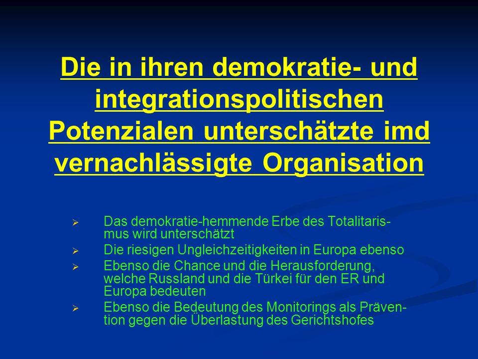 Die in ihren demokratie- und integrationspolitischen Potenzialen unterschätzte imd vernachlässigte Organisation   Das demokratie-hemmende Erbe des T