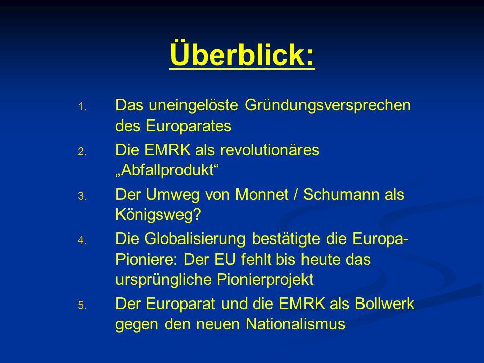"""Überblick: 1. 1. Das uneingelöste Gründungsversprechen des Europarates 2. 2. Die EMRK als revolutionäres """"Abfallprodukt"""" 3. 3. Der Umweg von Monnet /"""