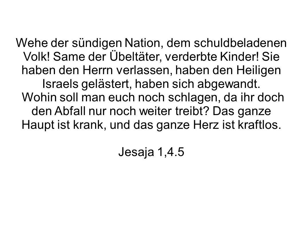 Wehe der sündigen Nation, dem schuldbeladenen Volk! Same der Übeltäter, verderbte Kinder! Sie haben den Herrn verlassen, haben den Heiligen Israels ge