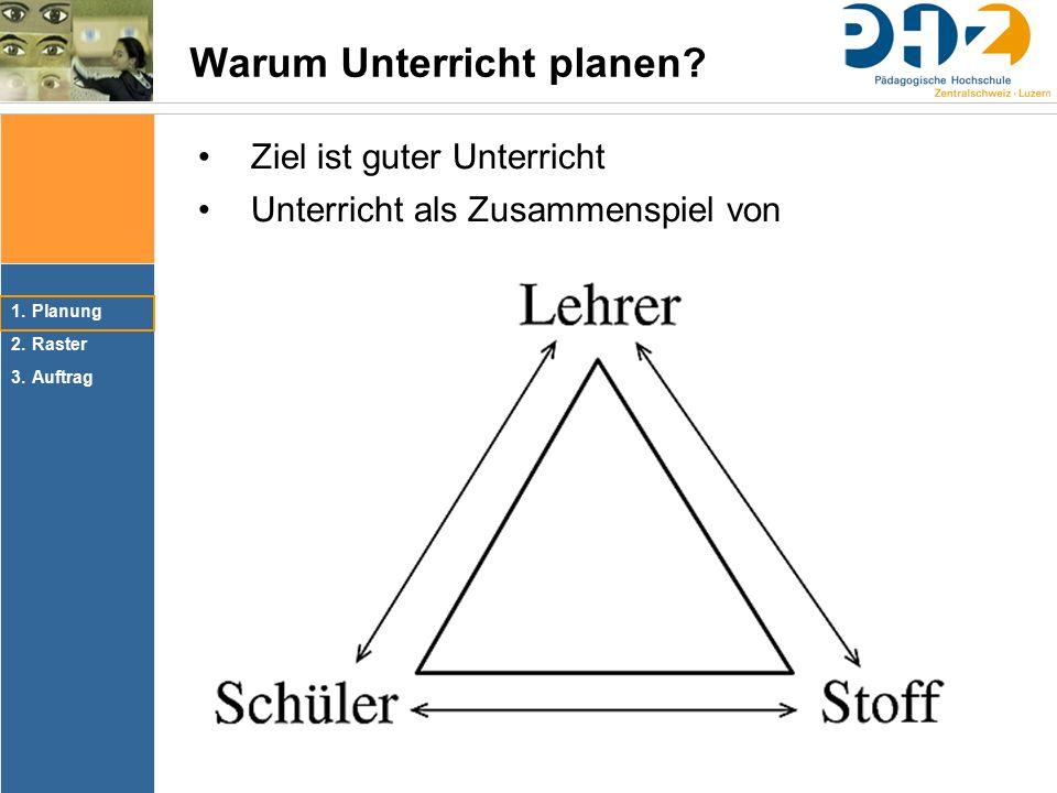 1.Planung 2.Raster 3.Auftrag Warum Unterricht planen.