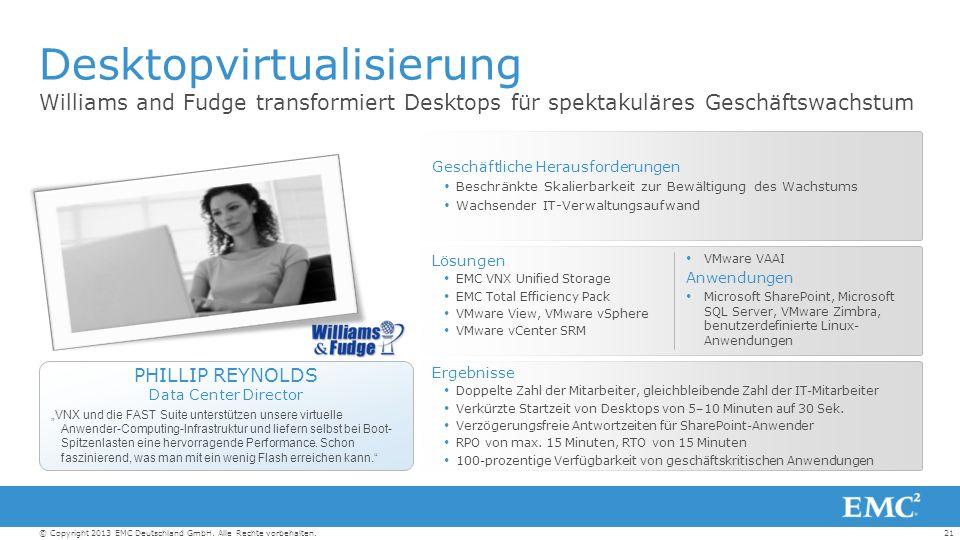 21© Copyright 2013 EMC Deutschland GmbH. Alle Rechte vorbehalten.