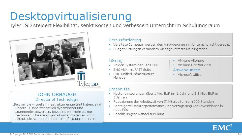 26© Copyright 2013 EMC Deutschland GmbH. Alle Rechte vorbehalten.