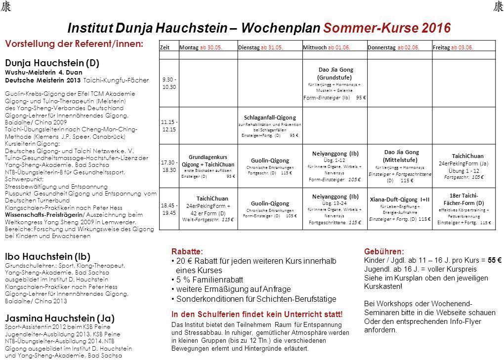 Institut Dunja Hauchstein – Wochenplan Sommer-Kurse 2016 Vorstellung der Referent/innen: Dunja Hauchstein (D) Wushu-Meisterin 4.