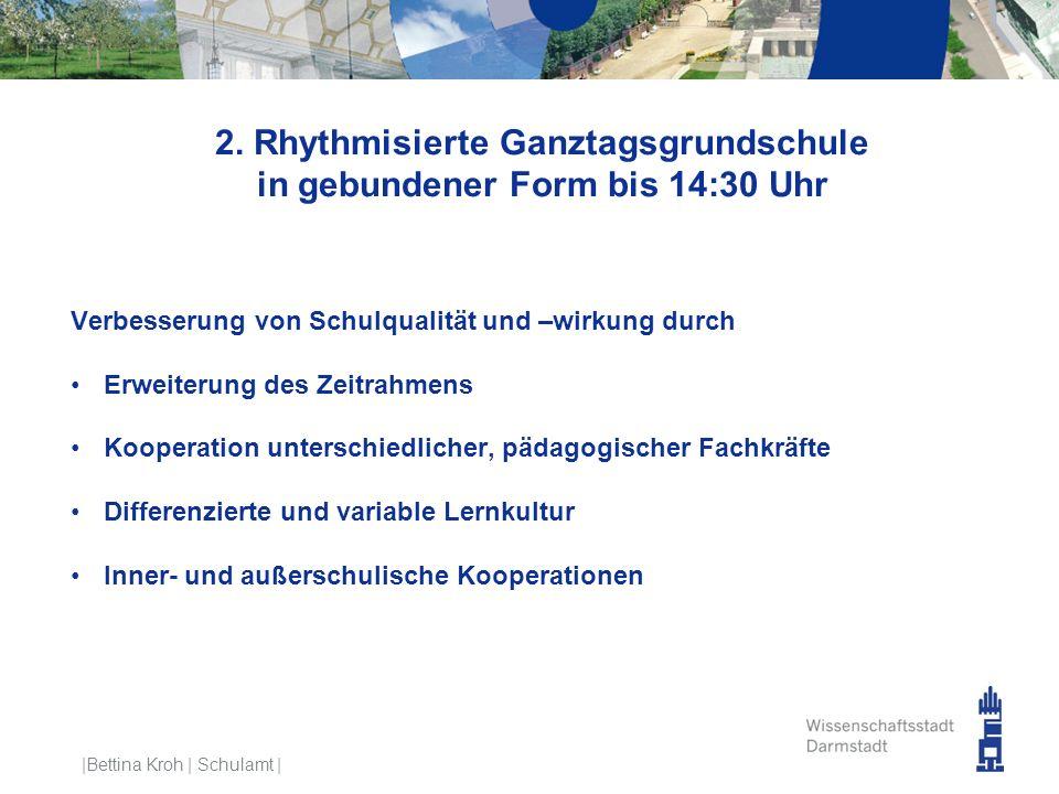 2. Rhythmisierte Ganztagsgrundschule in gebundener Form bis 14:30 Uhr Verbesserung von Schulqualität und –wirkung durch Erweiterung des Zeitrahmens Ko