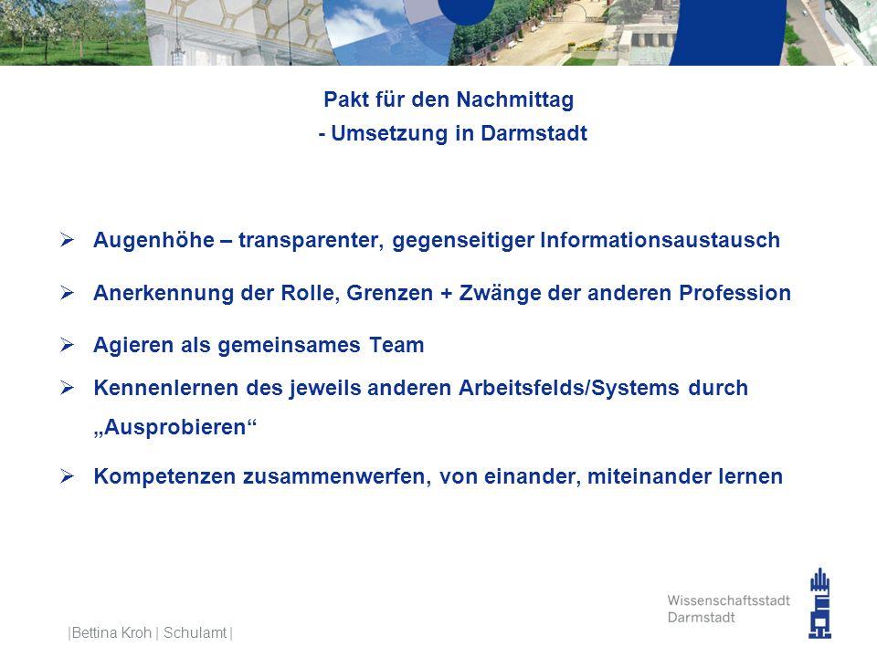 Pakt für den Nachmittag - Umsetzung in Darmstadt  Augenhöhe – transparenter, gegenseitiger Informationsaustausch  Anerkennung der Rolle, Grenzen + Z
