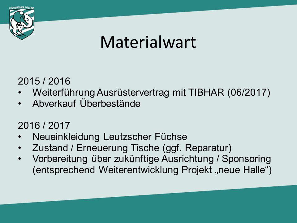 Materialwart 2015 / 2016 Weiterführung Ausrüstervertrag mit TIBHAR (06/2017) Abverkauf Überbestände 2016 / 2017 Neueinkleidung Leutzscher Füchse Zusta