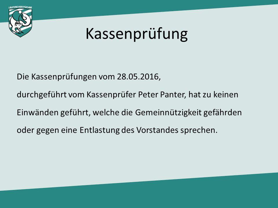 Kassenprüfung Die Kassenprüfungen vom 28.05.2016, durchgeführt vom Kassenprüfer Peter Panter, hat zu keinen Einwänden geführt, welche die Gemeinnützig