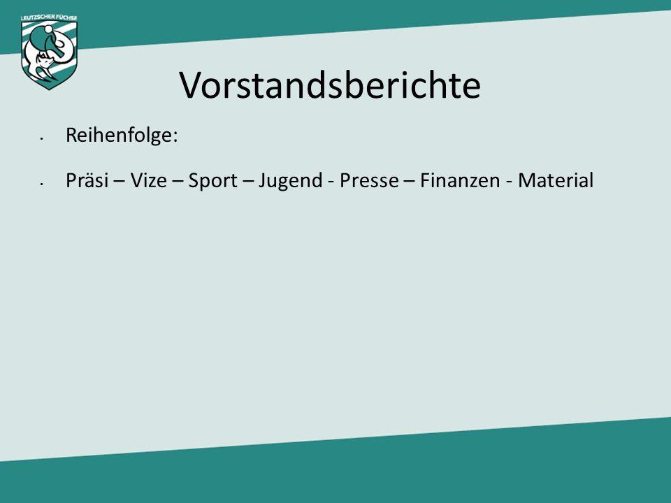 Vorstandsberichte Reihenfolge: Präsi – Vize – Sport – Jugend - Presse – Finanzen - Material