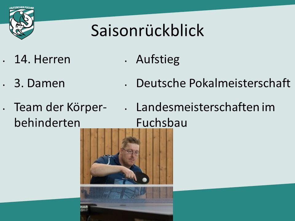 Saisonrückblick 14. Herren 3. Damen Team der Körper- behinderten Aufstieg Deutsche Pokalmeisterschaft Landesmeisterschaften im Fuchsbau