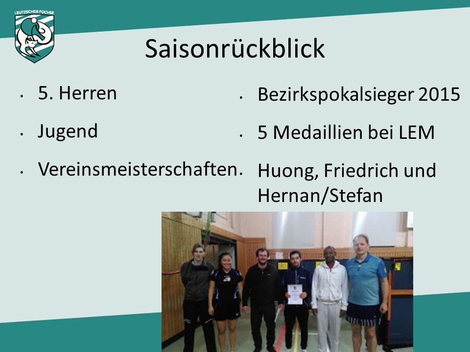 Saisonrückblick Bezirkspokalsieger 2015 5 Medaillien bei LEM Huong, Friedrich und Hernan/Stefan 5. Herren Jugend Vereinsmeisterschaften