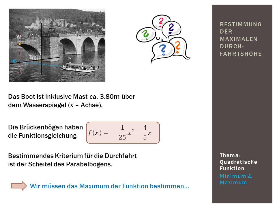 Thema: Quadratische Funktion Minimum & Maximum BESTIMMUNG DER MAXIMALEN DURCH- FAHRTSHÖHE Das Boot ist inklusive Mast ca. 3.80m über dem Wasserspiegel