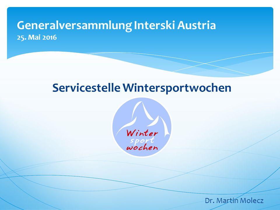Generalversammlung Interski Austria 25. Mai 2016 Servicestelle Wintersportwochen Dr. Martin Molecz