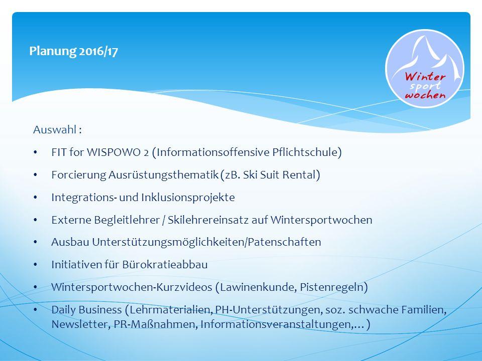 Planung 2016/17 Auswahl : FIT for WISPOWO 2 (Informationsoffensive Pflichtschule) Forcierung Ausrüstungsthematik (zB. Ski Suit Rental) Integrations- u